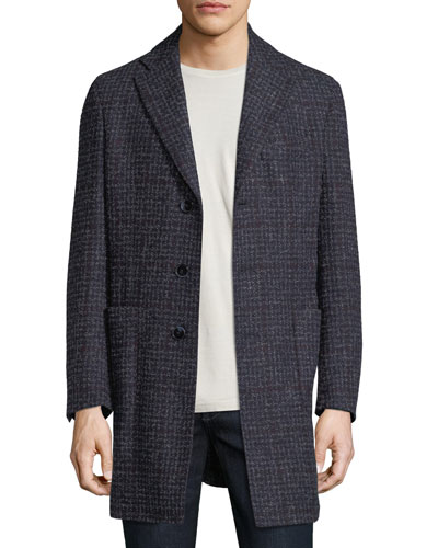 Boucle Plaid Single-Breasted Coat