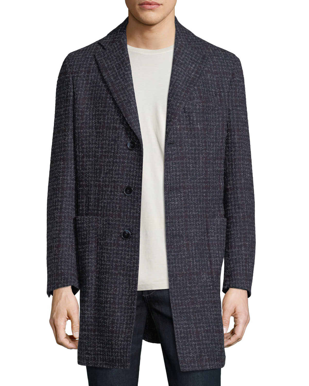 Boucle Plaid Single-Breasted Coat