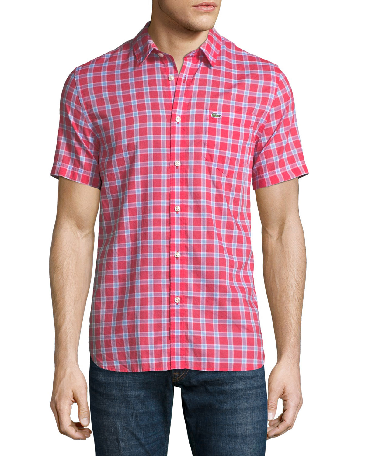 Check Cotton Poplin Short-Sleeve Shirt