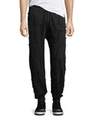 Jogger Pants with Frayed Squares