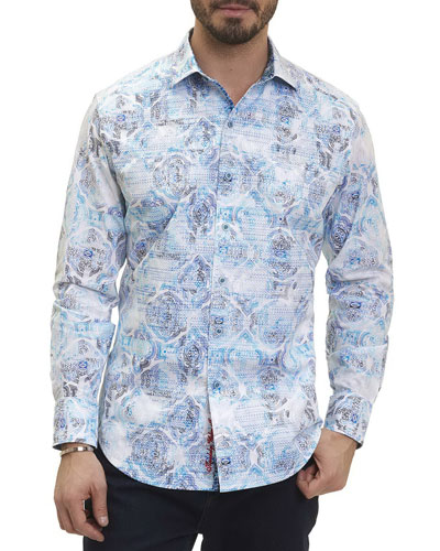 Bandier Paisley Medallion Sport Shirt, White