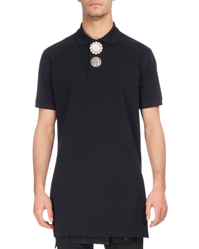 Givenchy  EMBELLISHED-BUTTON EXTENDED-HEM POLO SHIRT