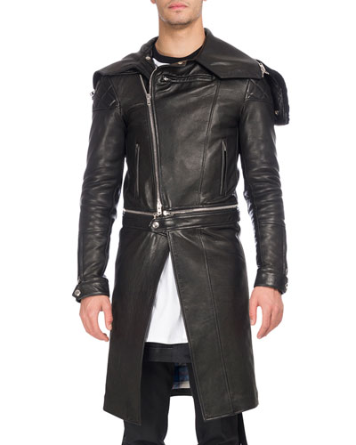 Calf Leather Long Moto Coat
