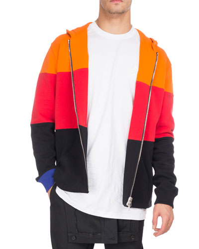Givenchy  COLORBLOCK COTTON ZIP-FRONT HOODIE