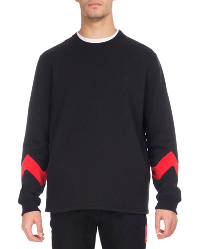 Zigzag-Band Crewneck Sweatshirt