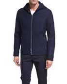 Full-Zip Virgin Wool Hooded Jacket