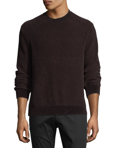 Ribbed Velour Crewneck Sweater