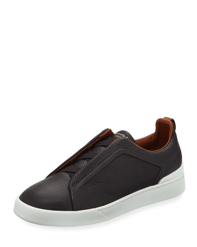 Triple-Stitch Slip-On Sneakers, Gray