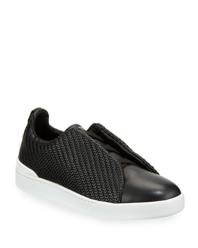 Pelle Tessuta™ Triple-Stitch Slip-On Sneakers, Black