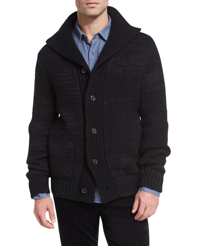 Marled Funnel-Neck Cardigan
