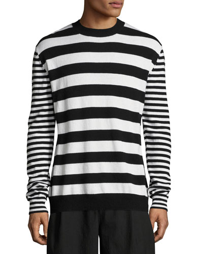 Alt-Stripe Wool-Cashmere Crewneck Sweater