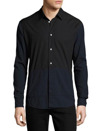 Two-Tone Blocked Cotton Shirt