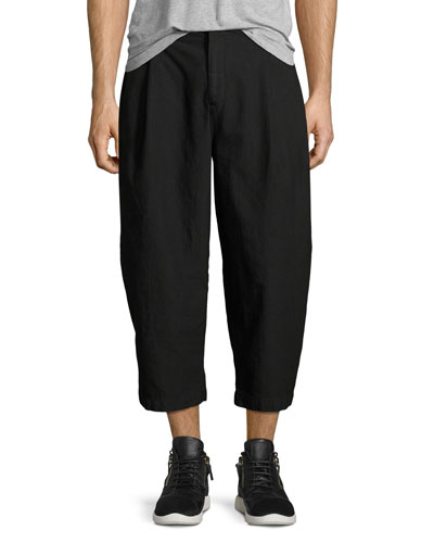 Cropped Pleat-Front Baggy Trousers