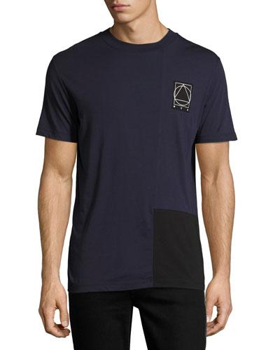 Two-Tone Paneled Cotton Logo T-Shirt