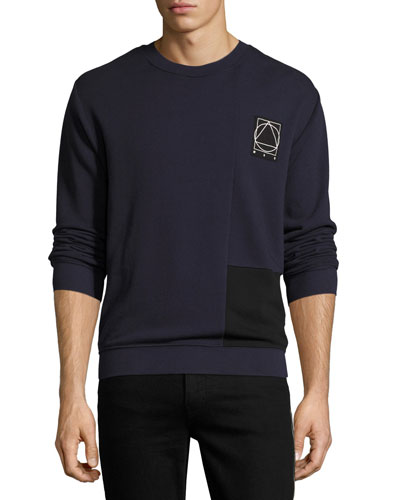 Two-Tone Paneled Cotton Logo Sweatshirt
