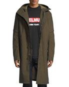 Flat-Hood Zip-Front Long Coat