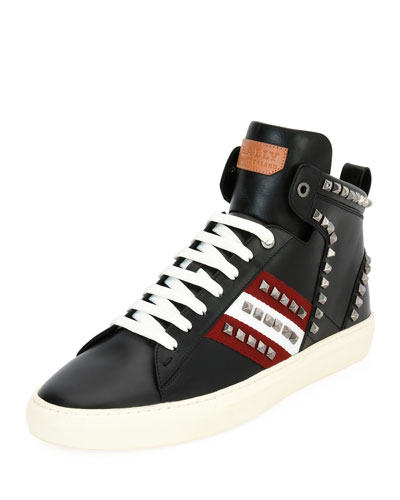 Hedern Studded Leather High-Top Sneaker