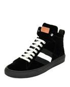 Hedern Velvet High-Top Sneaker, Black