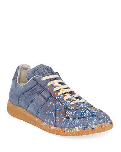 Men's Replica Paint-Splatter Suede Low-Top Sneakers, Blue