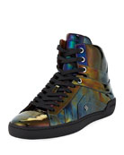 Eticon Petrol Patent Leather High-Top Sneaker