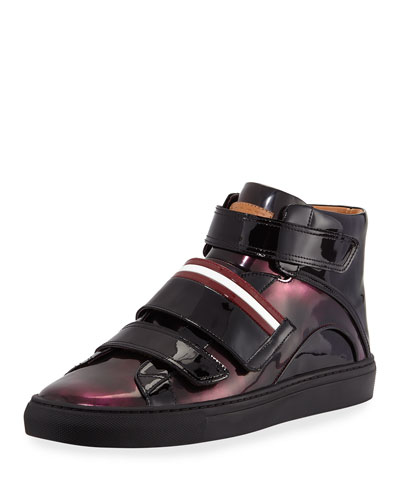 Bally Leathers HERRICK METALLIC PATENT LEATHER HIGH-TOP SNEAKER