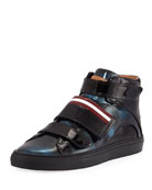 Herrick Metallic Patent Leather High-Top Sneaker, Blue