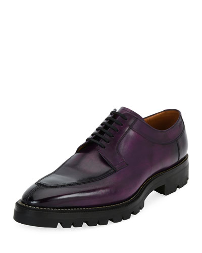 Scuber Lug-Sole Leather Derby Shoe, Purple