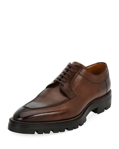 Bally Leathers SCUBER LUG-SOLE LEATHER DERBY SHOE, MEDIUM BROWN