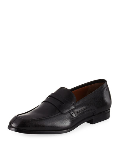 Lauto Textured Leather Penny Loafer, Black