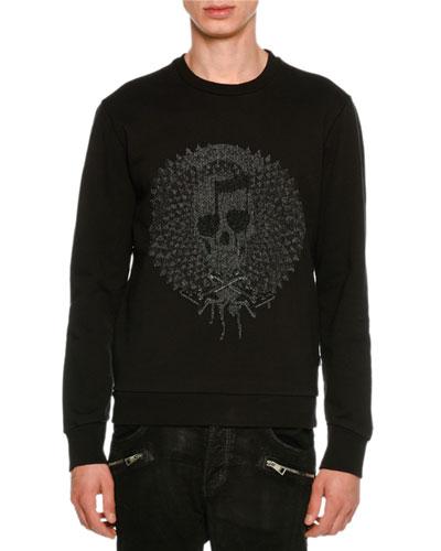 Cotton Sweatshirt Skull & Guitar Graphics