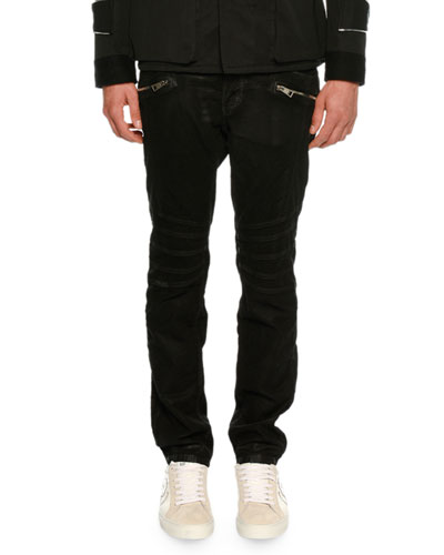 Coated Zip-Front Corduroy Pants