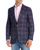 Isaia Domenico Windowpane Cashmere Sport Coat
