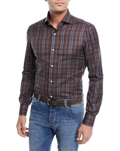 Large Check-Print Cotton Dress Shirt
