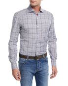 Irregular Check-Print Cotton Dress Shirt