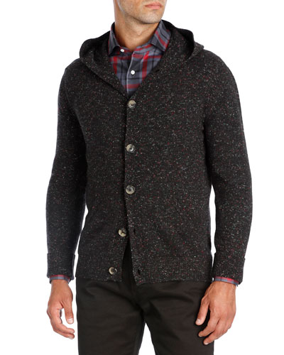 Hooded Donegal Cashmere Cardigan