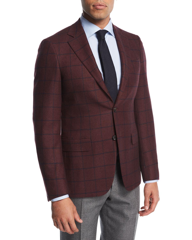 Windowpane Cashmere Two-Button Sport Coat
