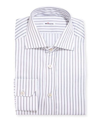 Multi-Stripe Cotton Dress Shirt, Gray
