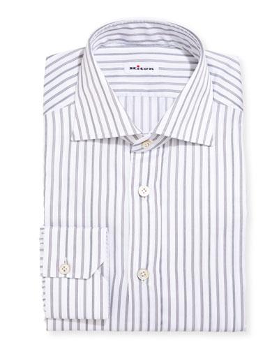 Multi-Stripe Cotton Dress Shirt, Gray