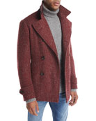 Donegal Double-Breasted Wool-Mohair Pea Coat