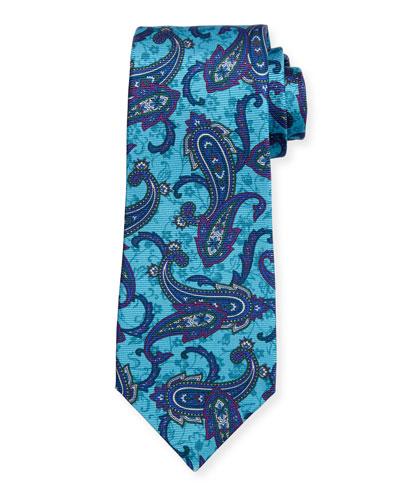 Paisley-Print Silk Tie, Blue