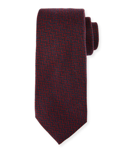 Chevron Wool-Silk Tie, Red