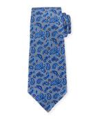 Paisley Pines Silk Tie, Gray