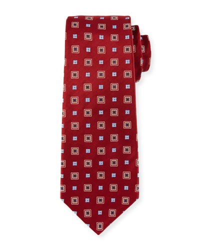 Woven Square Silk Tie, Red