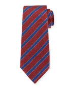 Diagonal-Stripe Silk Tie, Red
