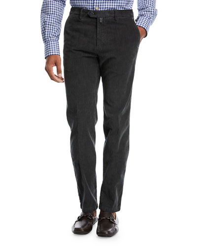 Corduroy Straight-Leg Pants, Gray