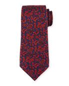 Paisley Pines Silk Tie, Blue
