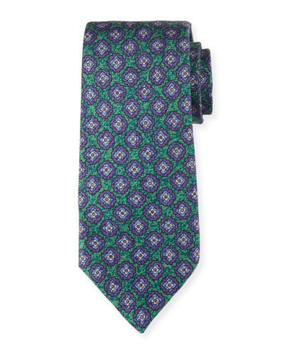 Medallion-Print Silk Tie, Green
