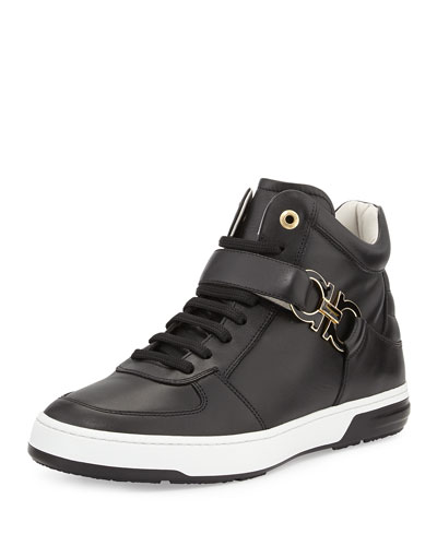 Nayon Calf Leather Gancini High-Top Sneaker