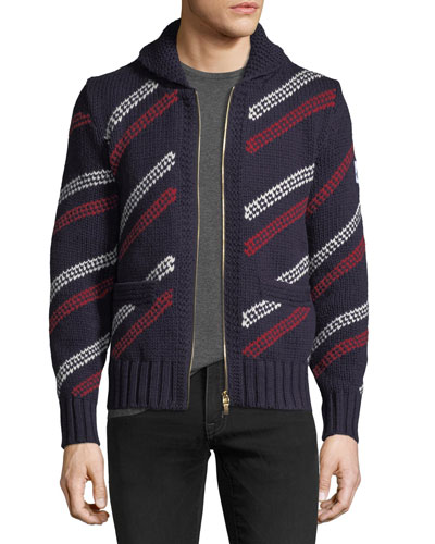 Wool Zip-Front Striped Cardigan