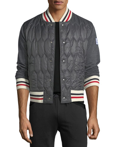 Quilted Knit-Trim Bomber Jacket